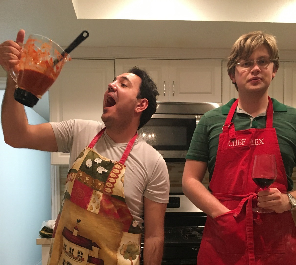 Vardan and Alexander are cooking
