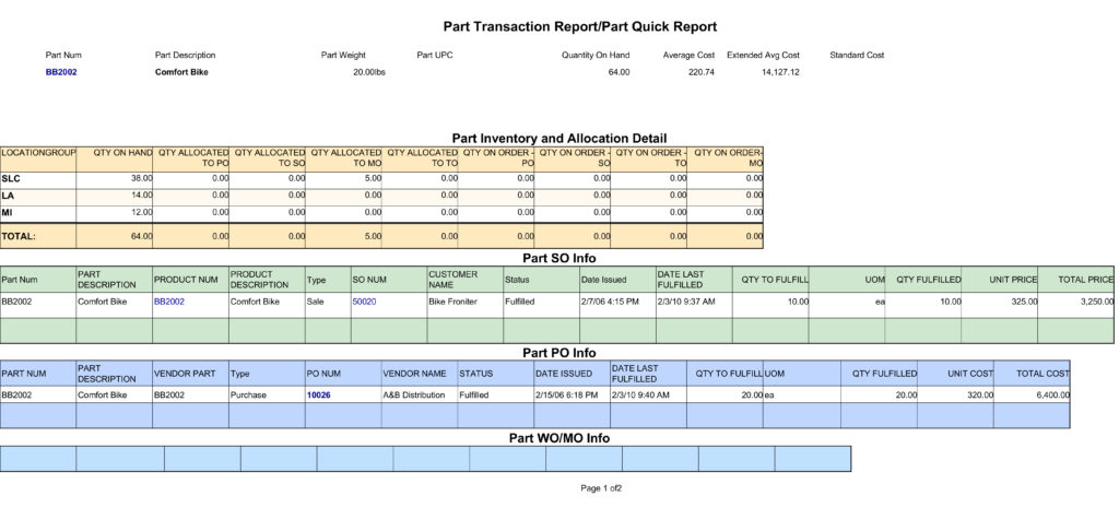 Fishbowl Part Transaction Report/Part Quick Report displays part inventory on hand information, inventory and allocation detail, Part Sales Information, Part PO Information and Part WO Information.
