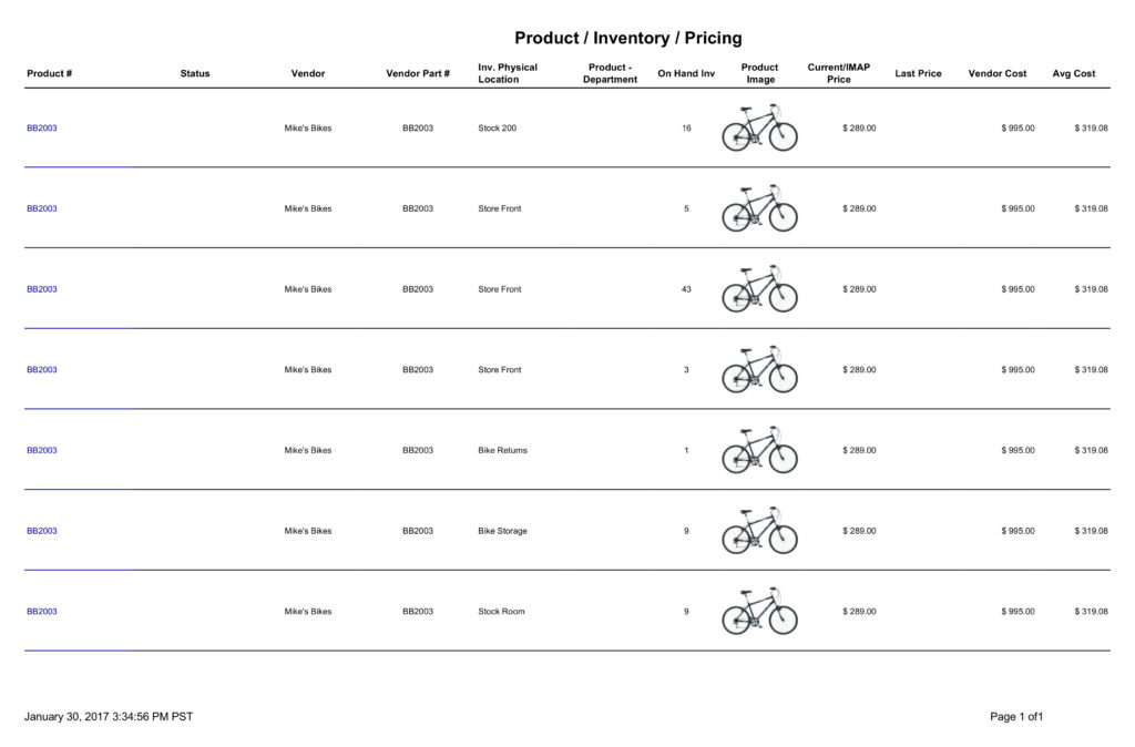 Fishbowl Product Inventory Pricing report displays product number, product status, vendor, vendor part number, location, on hand, product image, product price, last price, vendor cost and average cost.