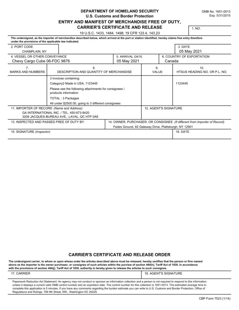 Fishbowl Regulatory Documents and Forms Shipping Invoice Manifest Form 7523